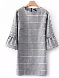 cheap -Women's Holiday Basic Flare Sleeve Cotton Tunic Dress - Check Print Crew Neck / Summer
