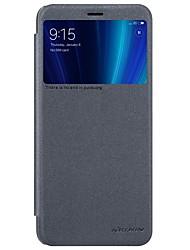 Недорогие -Кейс для Назначение Xiaomi Mi 6X с окошком / Флип / Матовое Чехол Однотонный Твердый Кожа PU для Xiaomi Mi 6X(Mi A2)