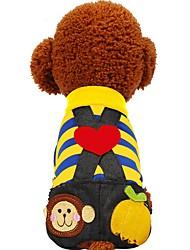 Недорогие -Собаки / Коты / Животные Инвентарь / Брюки / Джинсы Одежда для собак Полоски / Контрастных цветов / Любовь Желтый / Пурпурный Хлопок