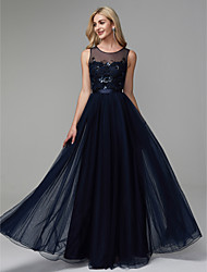 cheap -A-Line Jewel Neck Floor Length Satin / Tulle Prom / Formal Evening Dress with Beading by TS Couture®