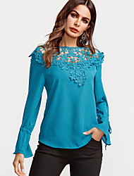 cheap -Women's Flare Sleeve Blouse-Solid Colored,Lace Patchwork