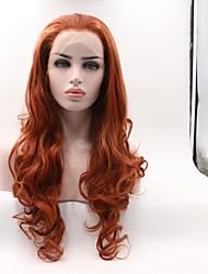 abordables -Peluca Lace Front Sintéticas Ondulado Corte a capas Pelo sintético Rizador y enderezador Rojo Peluca Mujer Longitud Media Encaje Frontal / Sí