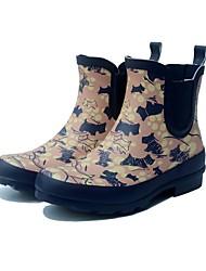 Недорогие -Жен. Обувь Резина Весна лето Резиновые сапоги Ботинки На низком каблуке Ботинки Животные принты Розовый