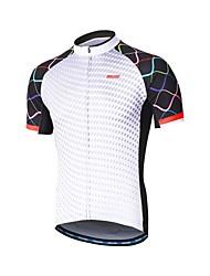 baratos -Arsuxeo Homens Manga Curta Camisa para Ciclismo - Branco Moto Camisa / Roupas Para Esporte, Tiras Refletoras, Redutor de Suor