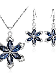cheap -Crystal Jewelry Set - Flower, Snowflake Sweet, Fashion, Elegant Include Drop Earrings / Pendant Necklace / Bridal Jewelry Sets Silver For Wedding / Party / Gift