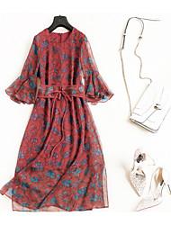 abordables -Femme simple / Chic de Rue Manches Evasées Tee Shirt Robe - A Volants, Fleur Maxi