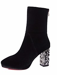 cheap -Women's Shoes Cowhide Fall Fashion Boots Boots Chunky Heel Mid-Calf Boots Black / Purple