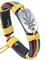 abordables -Homme Bracelets en cuir - Cuir Forme de Feuille Basique, Mode Bracelet Café / Arc-en-ciel Pour Cérémonie / Plein Air