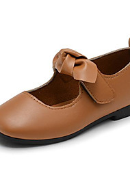 baratos -Para Meninas Sapatos Couro Ecológico Primavera Verão Sapatos para Daminhas de Honra Sapatos de Barco Laço para Ao ar livre Preto Marron
