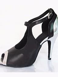 baratos -Mulheres Sapatos de Dança Latina Couro Ecológico Salto Salto Agulha Sapatos de Dança Preto / Espetáculo / Ensaio / Prática