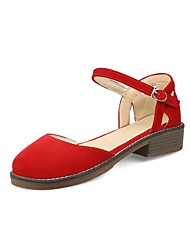Недорогие -Жен. Обувь Нубук Весна С Т-образной перепонкой / Туфли Мери-Джейн Сандалии На низком каблуке Черный / Красный / Миндальный