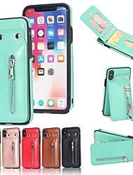 cheap -Case For Apple iPhone 8 / iPhone 8 Plus Card Holder / Wallet / with Stand Back Cover Solid Colored Hard PU Leather for iPhone X / iPhone