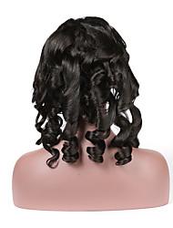 abordables -Cabello Remy Encaje Completo Peluca Cabello Brasileño Curl suelto Peluca 130% Entradas Naturales / Con Nudos Blanqueados Mujer Corta Pelucas de Cabello Natural