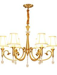 baratos -QIHengZhaoMing 6-luz Estilo de vela Lustres Luz Ambiente - Cristal, 110-120V / 220-240V, Branco Quente, Lâmpada Incluída / 15-20㎡