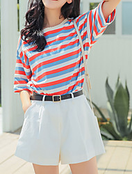 cheap -women's cotton wide leg pants - solid colored high waist