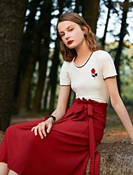baratos -Mulheres Básico Diário Evasê Saias - Sólido Cintura Alta Vermelho Bege