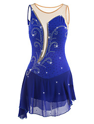 cheap -Figure Skating Dress Women's Girls' Ice Skating Dress Aquamarine Rhinestone High Elasticity Performance Practise Leisure Sports Skating