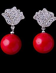 baratos -Mulheres Zircônia Cubica Brincos Curtos - Coração Doce, Fashion Vermelho Para Casamento / Noivado