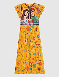 baratos -Mulheres Temática Asiática Evasê Vestido - Estampado, Geométrica Altura dos Joelhos