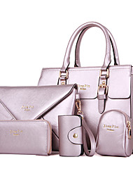 cheap -Women's Bags PU Leather Bag Set 5 Pieces Purse Set Buttons for Office & Career Beige / Fuchsia / Light Purple