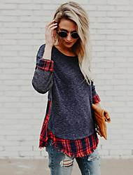 economico -T-shirt Per donna Romantico Moda città Collage, Monocolore A quadri Nero e rosso