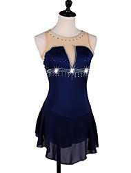baratos -Vestidos para Patinação Artística Mulheres Patinação no Gelo Vestidos Azul Marinho Escuro strenchy Espetáculo / Profissional Roupa para