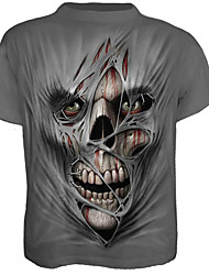 cheap -Men's Skull / Exaggerated Plus Size Cotton T-shirt - Skull Print / Short Sleeve