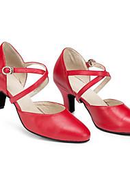 Недорогие -Жен. Обувь для модерна Кожа На каблуках На шпильке Танцевальная обувь Черный / Красный / Выступление / Тренировочные