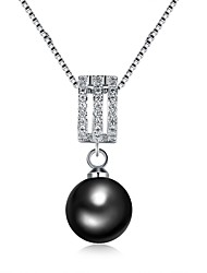 cheap -Women's Pendant Necklace - Pearl, Silver Plated, Black Pearl Fashion White 50 cm Necklace For Gift, Daily