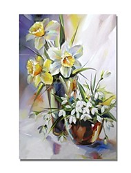 cheap -STYLEDECOR Modern Hand Painted Abstract Still Life Yellow and White Flowers Oil Painting on Canvas for Wall