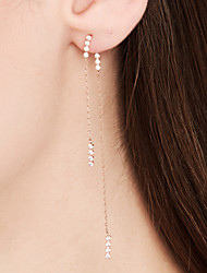 cheap -Women's Tassel Drop Earrings / Front Back Earrings / Ear Jacket - 18K Gold Plated, S925 Sterling Silver Dainty, Tassel Rose Gold For Daily / Formal