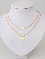 baratos -Camadas / Corrente Grossa Colares em Corrente / colares em camadas - Pássaro, Paz Dourado 52 cm Colar Para Diário