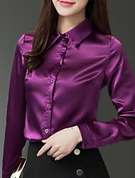 Недорогие -Жен. Рубашка Рубашечный воротник Классический Однотонный