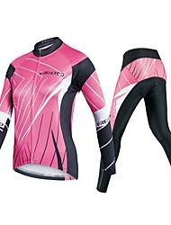 baratos -Realtoo Mulheres Manga Longa Calça com Camisa para Ciclismo - Rosa claro Moto Conjuntos de Roupas, Tapete 3D Poliéster, Elastano Linhas / Ondas / Com Stretch