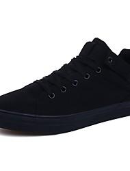 baratos -Homens Sapatos de Condução Lona Primavera Conforto Tênis Branco / Preto