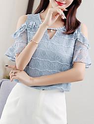 baratos -Mulheres Blusa Básico Renda, Sólido Algodão / Verão