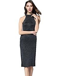 baratos -Mulheres Temática Asiática Tricô Vestido - Fenda, Sólido Médio