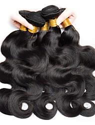 Недорогие -6 Связок Индийские волосы Волнистый Необработанные Человека ткет Волосы / Накладки из натуральных волос Естественный цвет Ткет человеческих волос Новое поступление / Для темнокожих женщин