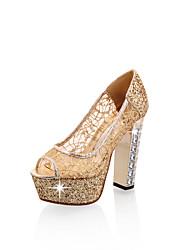 baratos -Mulheres Sapatos Courino Verão Conforto Saltos Salto Alto de Cristal Peep Toe Dourado / Preto / Prata