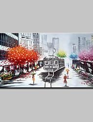 Недорогие -Hang-роспись маслом Ручная роспись - Пейзаж Modern Включите внутренний каркас / Растянутый холст