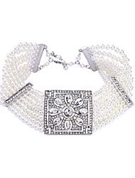 economico -Per donna Girocolli - Perla Fiore decorativo Classico, Di tendenza Argento 37+6 cm Collana Per Quotidiano, Cerimonia