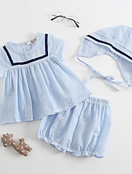 cheap -Baby Girls' Color Block Short Sleeve Clothing Set