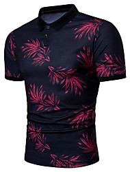 cheap -Men's Polo - Floral Shirt Collar / Please choose one size larger according to your normal size. / Short Sleeve