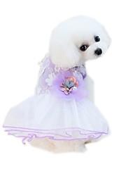 baratos -Animais de Estimação Vestidos Roupas para Cães Voile / Transparente / Flor / Floral / Botânico Roxo / Rosa claro Algodão / Poliéster /