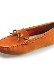 お買い得  -女性用 靴 レザー 春 モカシン / コンフォートシューズ ローファー&スリップアドオン ローヒール のために アウトドア ダークブルー / レッド / ライトブラウン