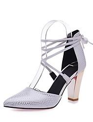baratos -Mulheres Sapatos Courino Primavera Verão D'Orsay Saltos Salto Robusto Dedo Apontado para Festas & Noite Preto / Bege / Vermelho
