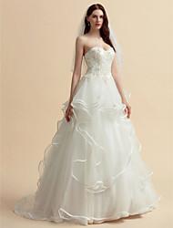 abordables -Corte en A / Princesa Escote Corazón Corte Tul Vestidos de novia hechos a medida con Cuentas / Apliques / Botón por LAN TING BRIDE®