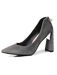 cheap -Women's Shoes Fleece Spring & Summer Comfort Heels Chunky Heel Pointed Toe for Wedding / Party & Evening Black / Gray / Light Yellow