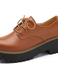 preiswerte -Damen Schuhe Leder Herbst Komfort / Pumps Outdoor Blockabsatz Schwarz / Braun