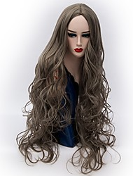Недорогие -Парики из искусственных волос Волнистый Средняя часть Искусственные волосы Горячая распродажа Серый Парик Жен. Очень длинный Машинное плетение Серый / Да
